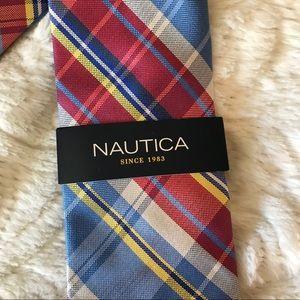 NWT Nautica Neck Tie 100% Silk With Stripes